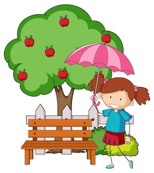 リンゴの木と傘を持っている女の子の落書き漫画のキャラクター