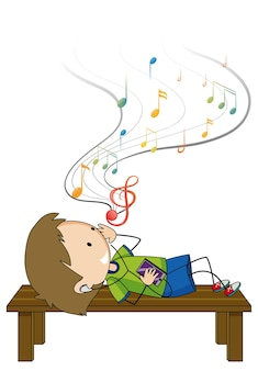 Doodle cartoon character of a boy listening music while laying on brench