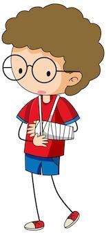 腕の添え木を身に着けている少年の落書き漫画のキャラクター