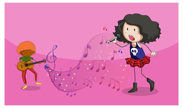 Каракули мультипликационный персонаж певицы девушки, поющей с музыкальными символами мелодии