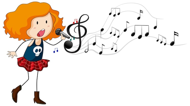 Doodle cartoon character of a singer girl singing with musical melody symbols