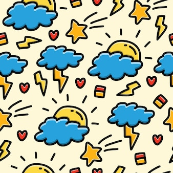 Doodle cartoon cloud seamless pattern