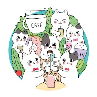 Doodle cartoon cute cats and coffee circle vector.