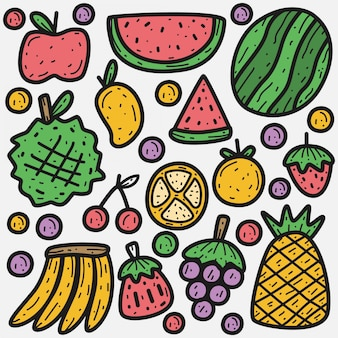 Doodle  cartoon fruits illustration