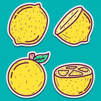 낙서 만화 레몬 스티커 디자인