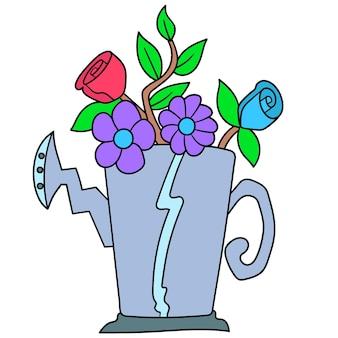 Каракули мультфильм растение в горшке цветок цветущее, каракули рисовать каваи. векторная иллюстрация искусства