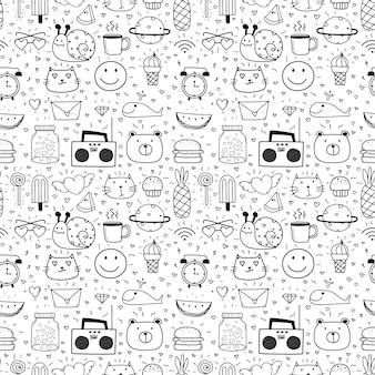 子供のための漫画のシームレスなパターン背景を落書き。