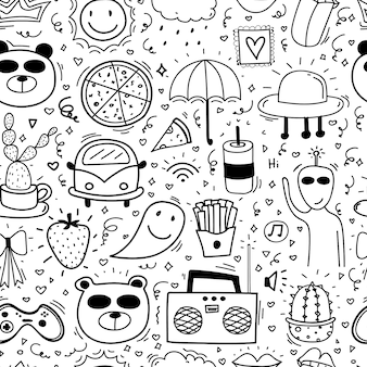 Doodle cartoon seamless pattern background for kid.