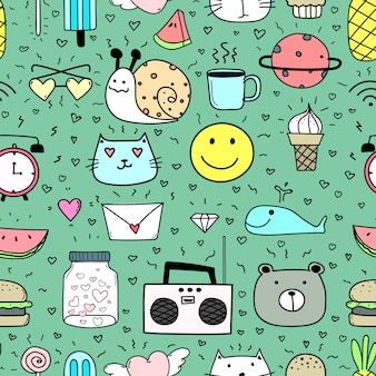 Doodle cartoon seamless pattern