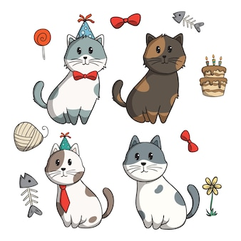 Doodle cat collection with birthday party elements