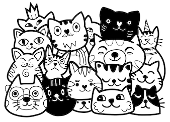 Doodle cats group