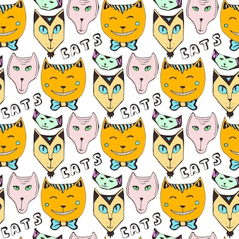 Doodle cats pattern. hand drawn colorful seamless page. vector art.