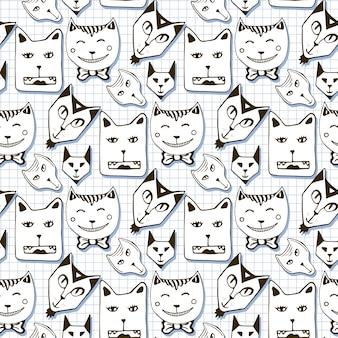 落書き猫のシームレスなパターン。手描きの漫画かわいい動物の顔の背景。壁紙、パターンの塗りつぶし、パッケージデザインに使用 Premiumベクター