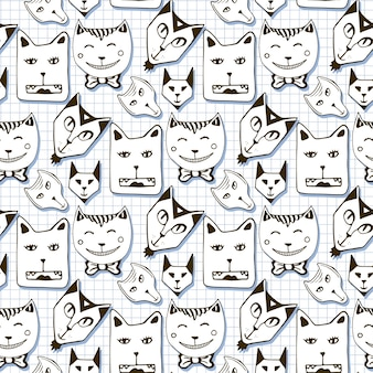 Doodle cats seamless pattern. hand drawn cartoon cute animal faces background. used for wallpaper, pattern fills, packaging design