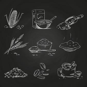 落書き穀物と粥