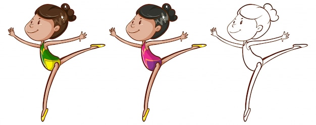Doodle character for girl doing gymnastic illustration