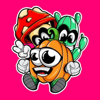 Doodle character of pumkin cactus and mushroom
