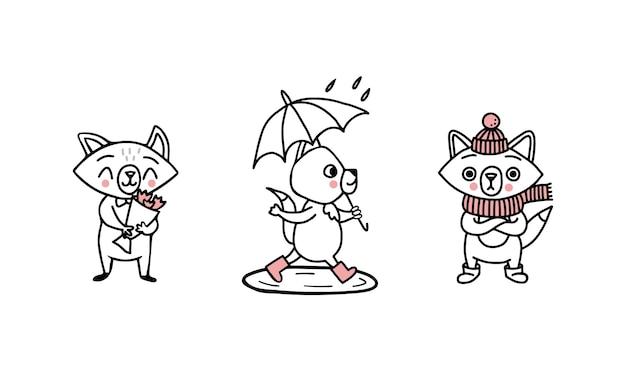 Каракули персонажей лисиц в разное время года: с цветами весной и летом, в резиновых сапогах под зонтиком, под дождем в лужах и, в шарфе, в шляпе и уггах зимой.