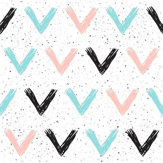 낙서 체크 원활한 배경입니다. 블랙, 블루, 핑크 체크. 카드, 초대장, 포스터, 배너, 현수막, 일기, 앨범, 스케치 책 표지 등을 위한 추상적이고 매끄러운 패턴입니다.