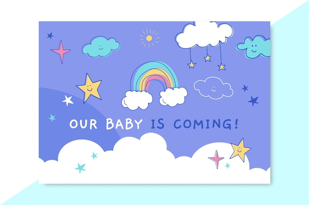 Doodle child-like baby card template