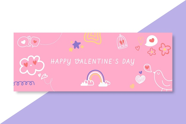 Doodle child-like valentine's day facebook cover