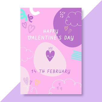Doodle poster di san valentino infantile