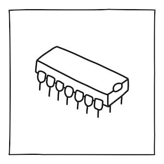 Значок пакета чипа каракули или логотип, рисованной с тонкой черной линией. изолированные на белом фоне. векторная иллюстрация