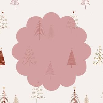 落書きクリスマスの背景、赤でかわいいフレーム、お祭りのデザインベクトル