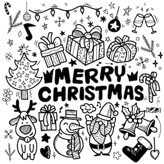 Doodle christmas background,freehand christmas outline doodles