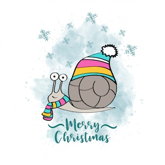 Doodle christmas card with dressed snail