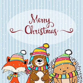 Doodle christmas card with funny dressed animals
