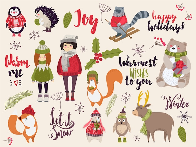 Doodle christmas creatures, cute animals and people in winter cloth, hand drawn illustration