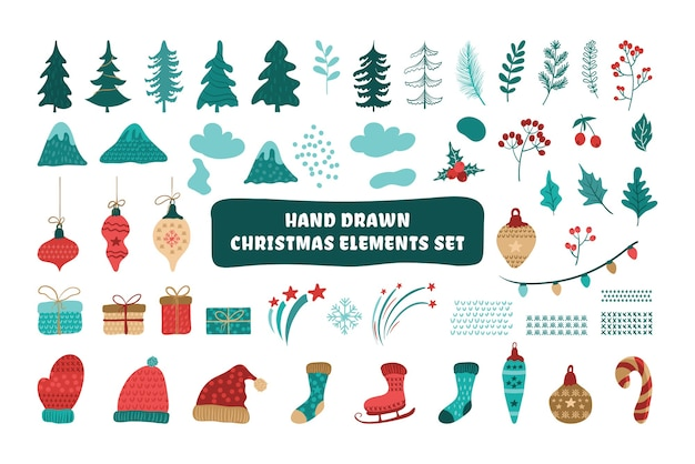 Набор рождественских элементов каракули, изолированные на белом фоне