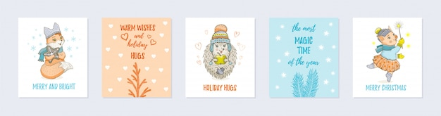 Doodle christmas greeting card set with cute animals