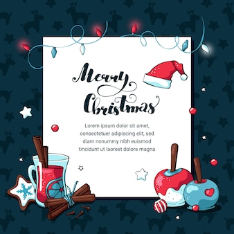 Doodle christmas holiday  card with white placeholder