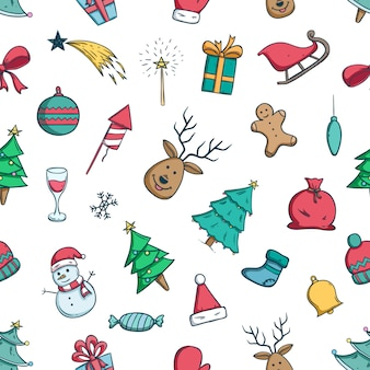 Doodle christmas icons or elements in seamless pattern with doodle style