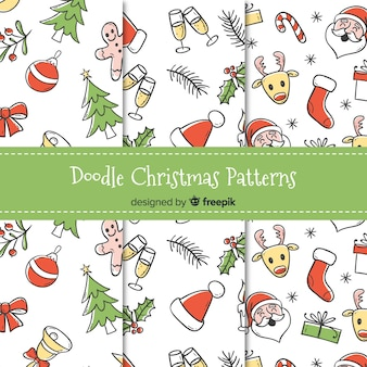 Doodle christmas pattern collection