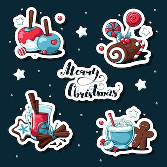 Doodle christmas stickers set with sweets and lettering