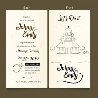 Doodle church invited card marriage