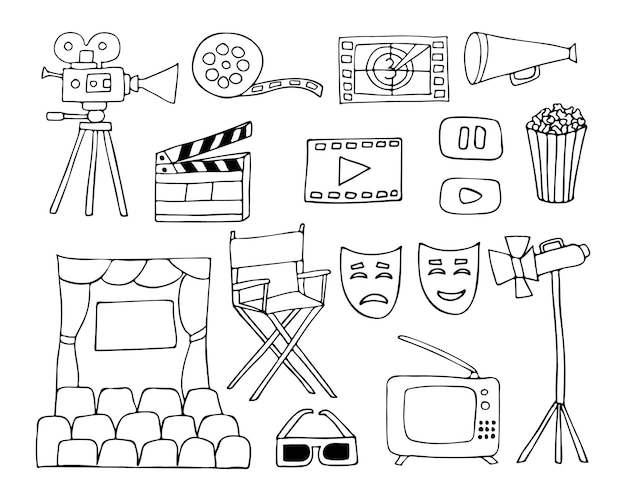 Doodle cinema icons collection in vector. hand drawn movie illustrations collection.