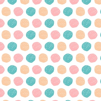 Doodle circles pattern background hand drawn