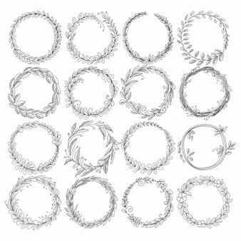 Doodle circular floral decorative frame set design