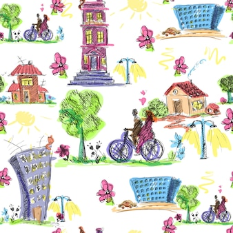 Doodle city colored seamless pattern