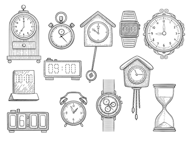 Doodle clocks. watches timer alarm  drawings illustrations set.
