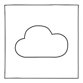 Doodle cloud icon or logo, hand drawn with thin black line. graphic design element isolated on white background. vector illustration