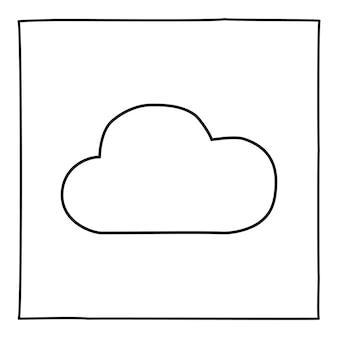 Doodle cloud 아이콘 또는 로고, 얇은 검은색 선으로 손으로 그린 흰색 배경에 고립 된 그래픽 디자인 요소입니다. 벡터 일러스트 레이 션