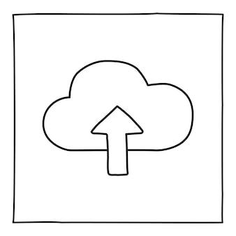 Doodle cloud 업로드 아이콘 또는 로고, 가는 검은색 선으로 손으로 그린