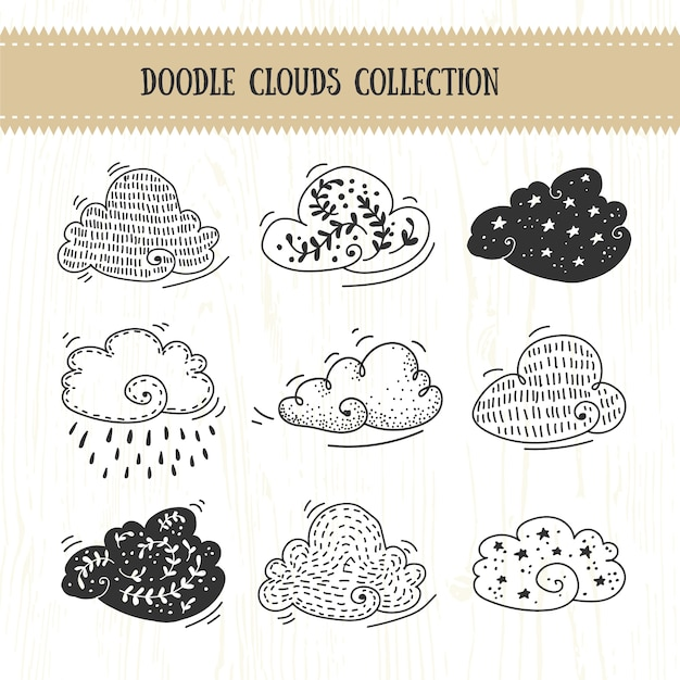 Doodle clouds collection