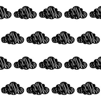 落書き雲シームレスパターン背景。カード、招待状、ポスター、テキスタイル、バッグプリント、現代のワークショップ広告、tシャツなどの抽象的な雲見本。