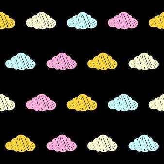 낙서 구름 원활한 패턴 배경입니다. 카드, 초대장, 포스터, 섬유, 가방 인쇄, 현대 워크샵 광고, 티셔츠 등을 위한 추상 구름 견본